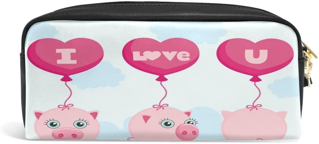 ALAZA I Love U Pig PU Leather Pen Pencil Case Pouch Case Makeup Cosmetic Travel School Bag
