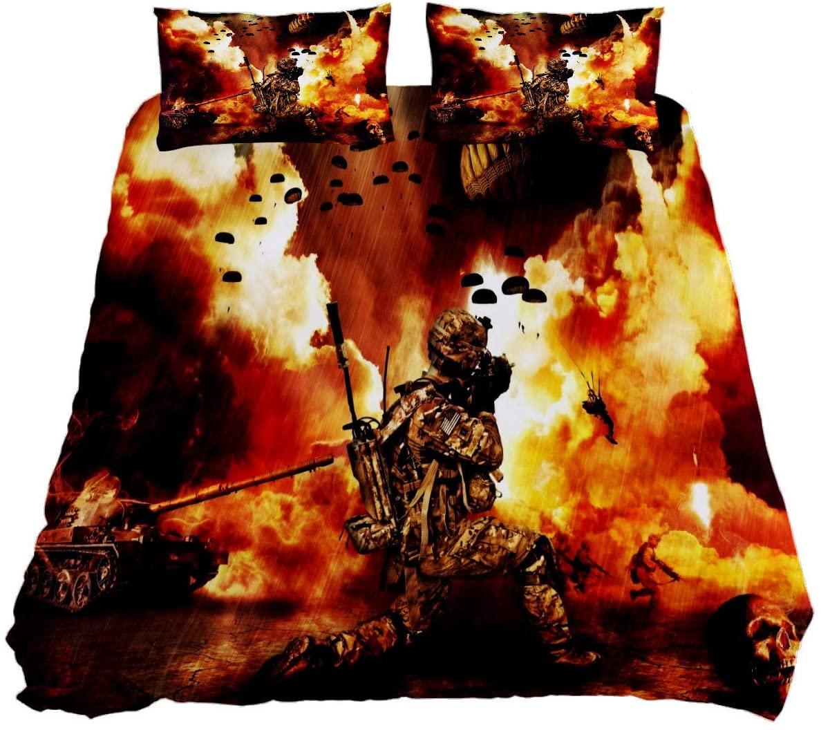 N\O War Venue Bedding Duvet Cover Set Kids Bed Sheet Set Twin 3 Pieces Full Size with Zipper Ties Quilt (1 Duvet Cover + 2 Pillow Shams) Bedclothes for Teen Women Men