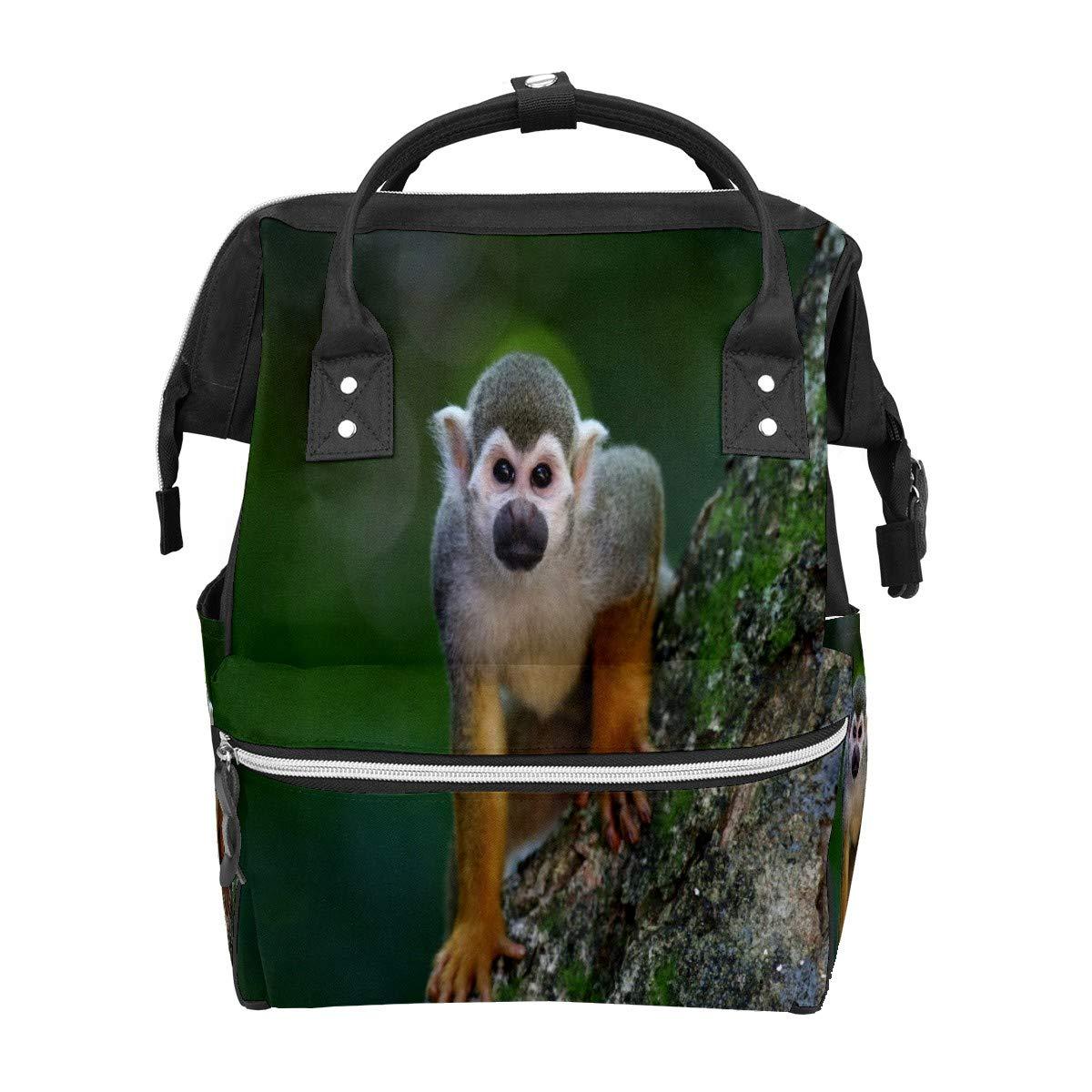 Diaper Bag Backpack Monkey Ape Mammal Looking Multifunction Travel Back Pack Baby Changing Bags Large Capacity Waterproof Stylish