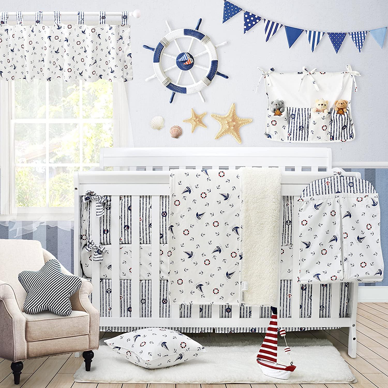 Brandream Nautical Baby Bedding Set for Boys Sail Away Ocean Anchor Printed Nursery Crib Bedding Set with Bumper Navy and White, 11 Pieces