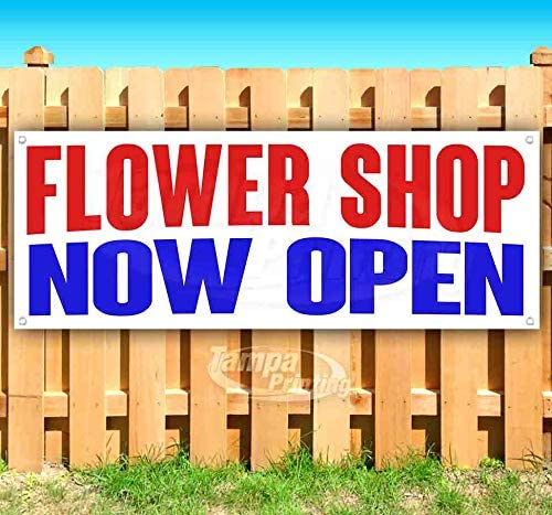 Flower Shop Now Open 13 oz Heavy Duty Vinyl Banner Sign with Metal Grommets, New, Store, Advertising, Flag, (Many Sizes Available)