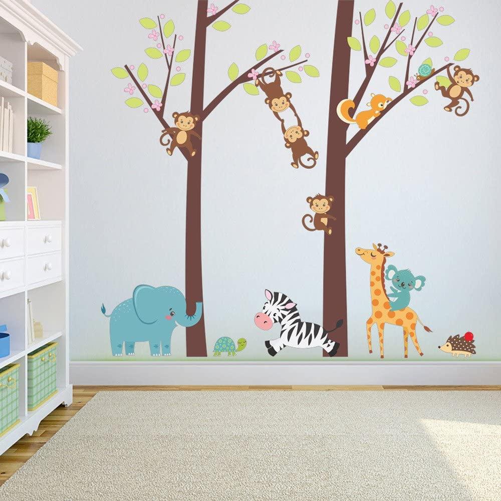 Euone 🎃 Wall Sticker, Jungle Animal Tree Wall Decal Kids Baby Nursery Room Decor Art Murals Stickers