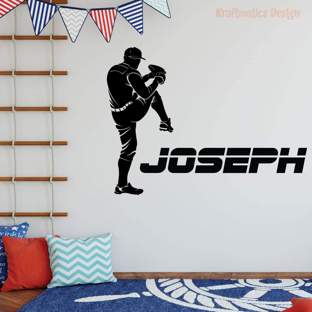Baseball Custom Name Sports Series Nursery Wall Decal Vinyl Sticker for Home Decor. (Small W 23