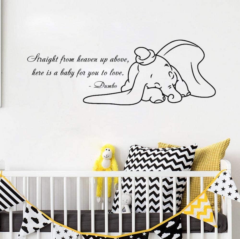 vwsitc Animal Vinyl Wall Stickers for Kids Rooms Quote Wall Decal Cartoon Elephant Playroom Nursery Room Sticker Wallpaper 57X20Cm