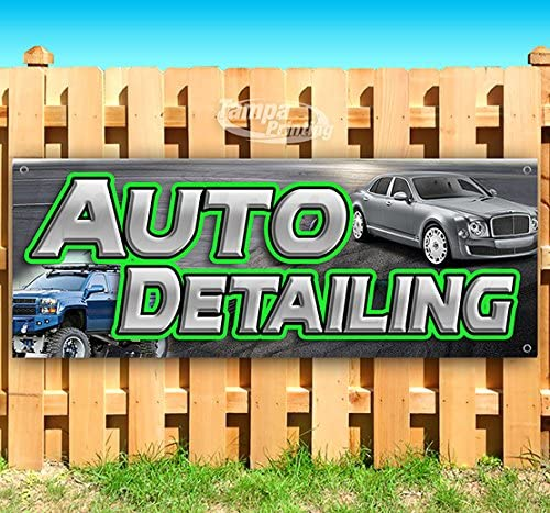 AUTO Detailing 13 oz Heavy Duty Vinyl Banner Sign with Metal Grommets, New, Store, Advertising, Flag, (Many Sizes Available)