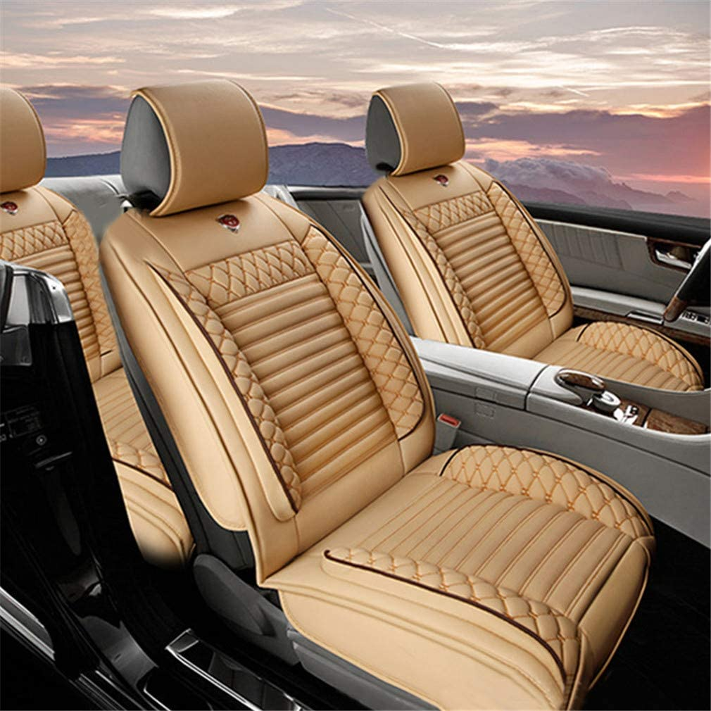 Jiahe Car Seat Covers for Hyundai Sonata Plug-in Hybrid Seat Protection Artificial Leather Front Carseat Set Universal Beige
