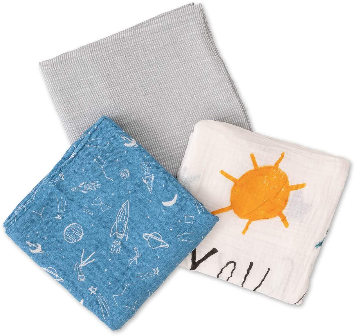 Red Rover Kids Breathable Cotton Muslin Swaddle 3 Pack (Sun Moon Stars)
