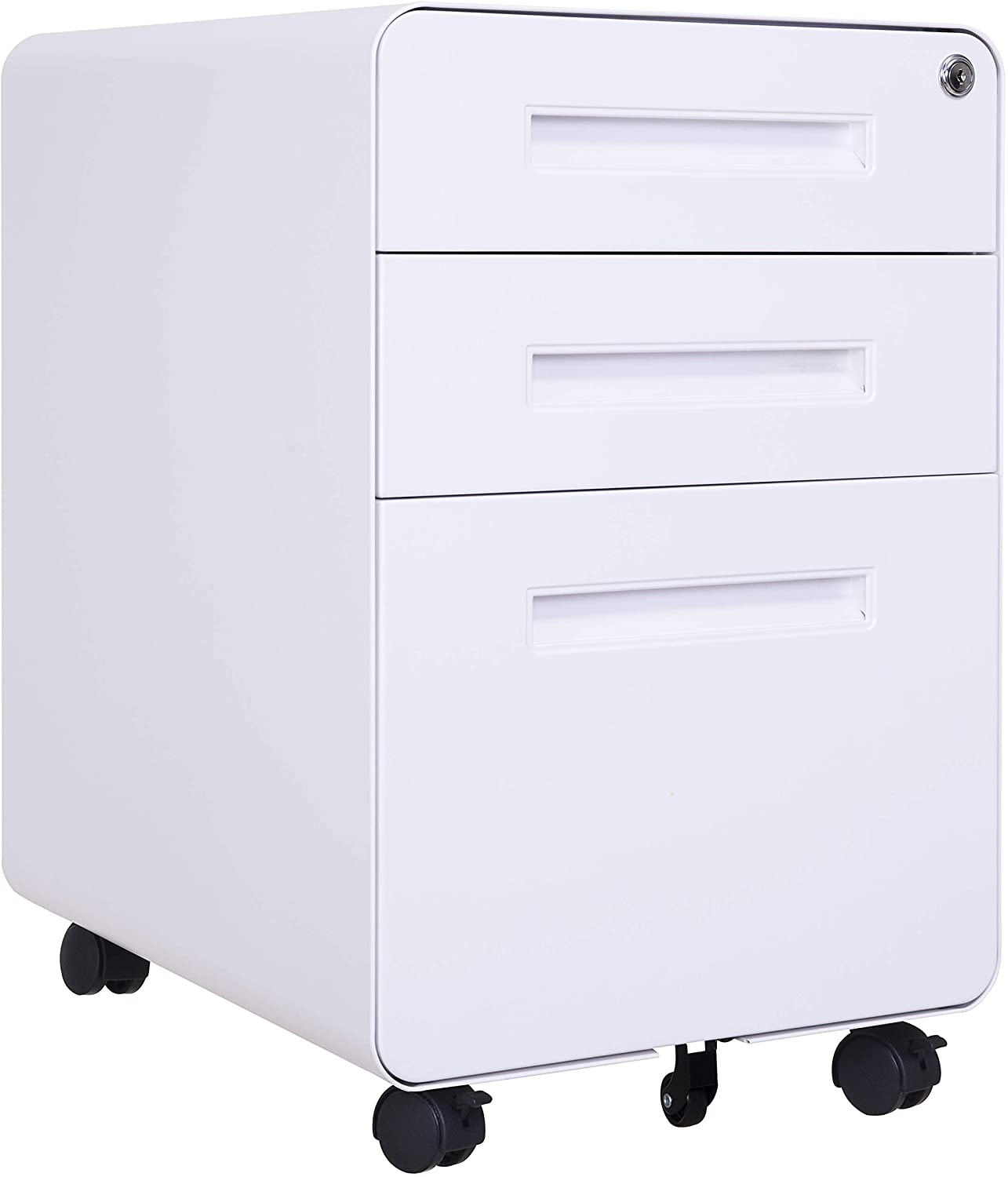 File Cabinet Mobile, 3 Drawer Metal Pedestal Filing Cabinets with 2 Lock Keys, 5 Rolling Casters, Fully Assembled Storage for Home Office Modern Vertical Hanging Folders A4 Letter Size (White)
