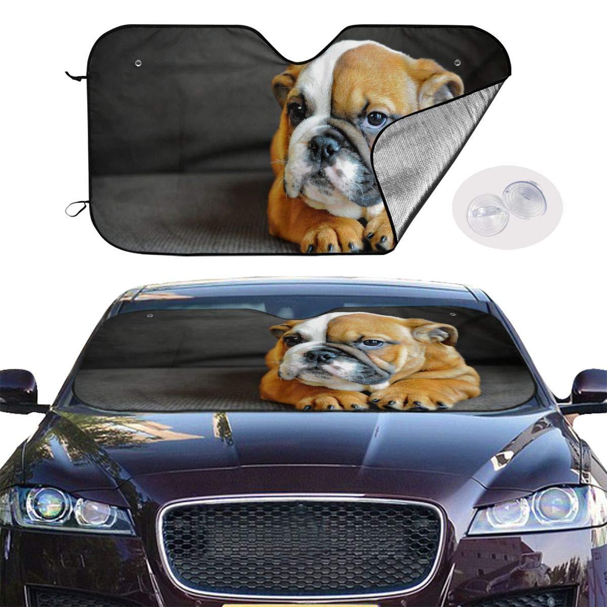 Kneeling English Bulldog Windshield Sun Shade Cover Visor Protector Sunshades Covers Awning Shades Uv Reflector for Car SUV Truck Universal