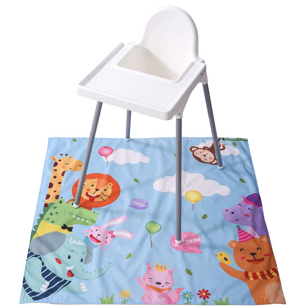 Winthome Highchair Splash Mat Baby, Paint Splash Mat Large, Protective Floor Splash Mat, Waterproof and Anti Slip (Zoo)