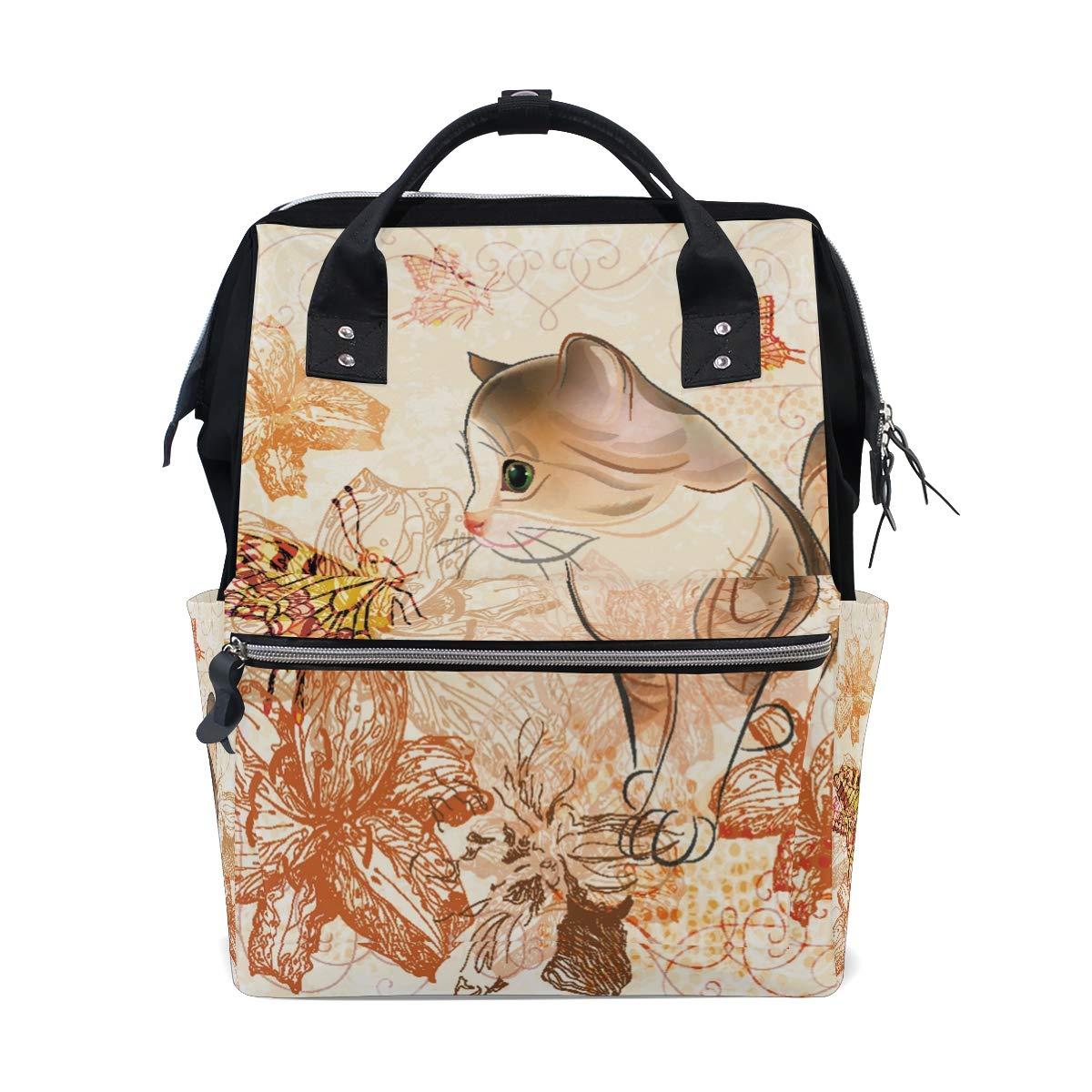 MERRYSUGAR Diaper Bag Backpack Cute Cat Flower Floral Multifunction Travel Bag