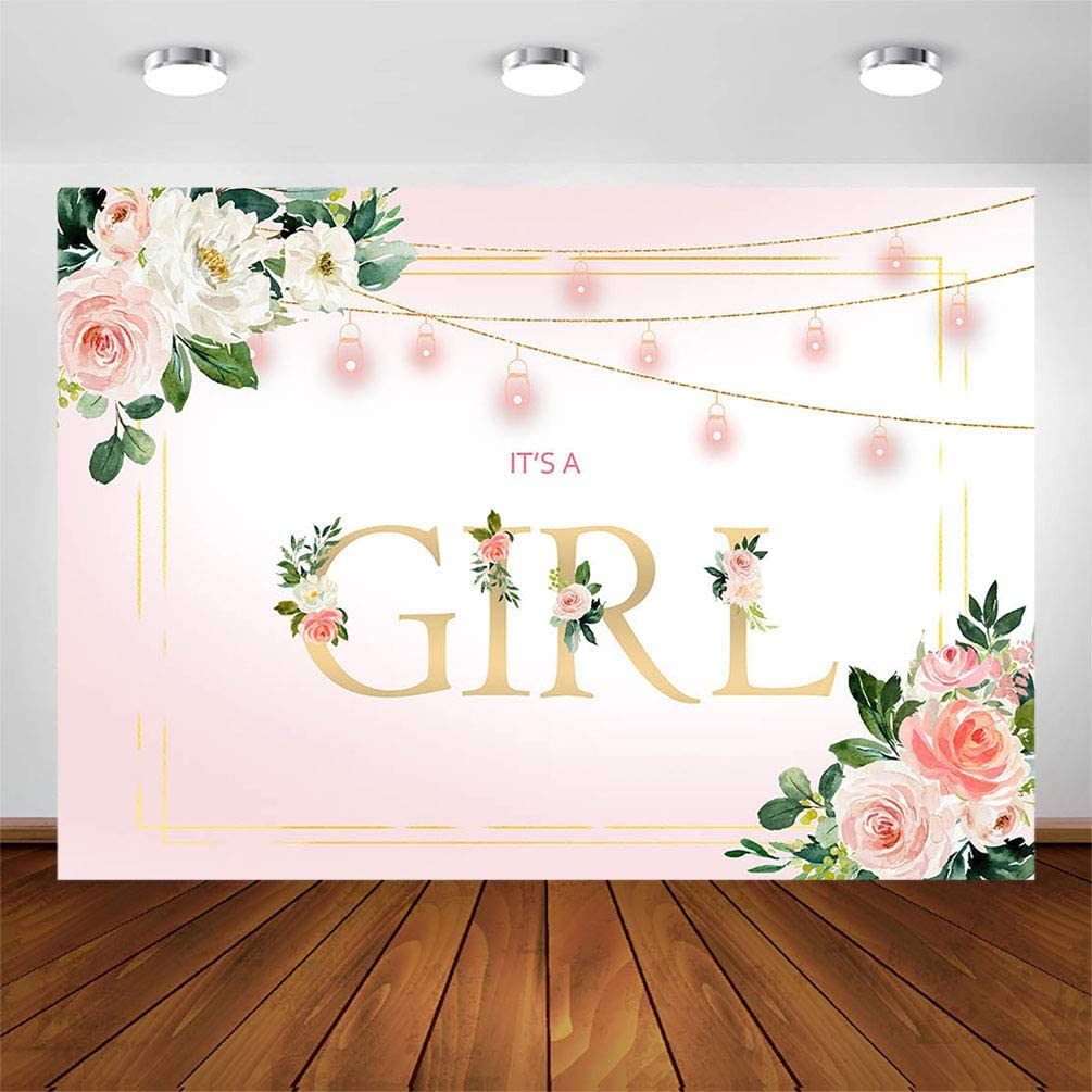 COMOPHOTO Its a Girl Backdrop for Baby Shower Photography Background 7x5ft Gold Pink Floral Rustic Baby Girl Party Decorations Photo Booth Photoshoot Cake Table Banner Supplies