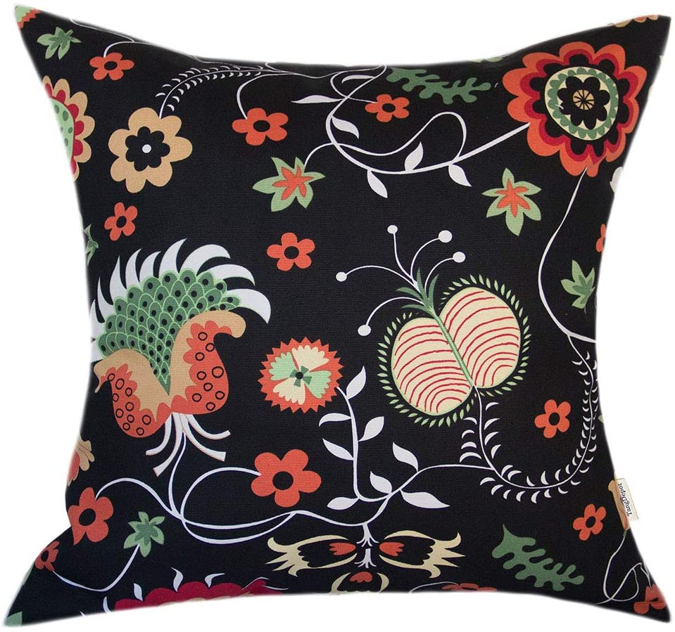 TangDepot 100% Cotton Floral Printcloth Decorative Throw Pillow Covers, Handmade,45 Colors,19 Sizes Avaliable, European Indoor/Outdoor Cushion Covers - (24