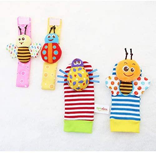 JOYLEX Baby Socks Toys Wrist Rattle and Foot Finder Developmental Early Educational Toys Set Gift for Infant Newborn Girl & Boy, Bugs Design-4pcs