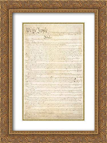 Constitution of The United States, 1787 28x40 Gold Ornate Frame and Double Matted Art Print by Convention, Constitutional