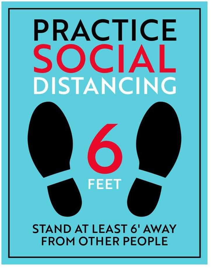 Social Distancing Sign - Light Blue (8.5