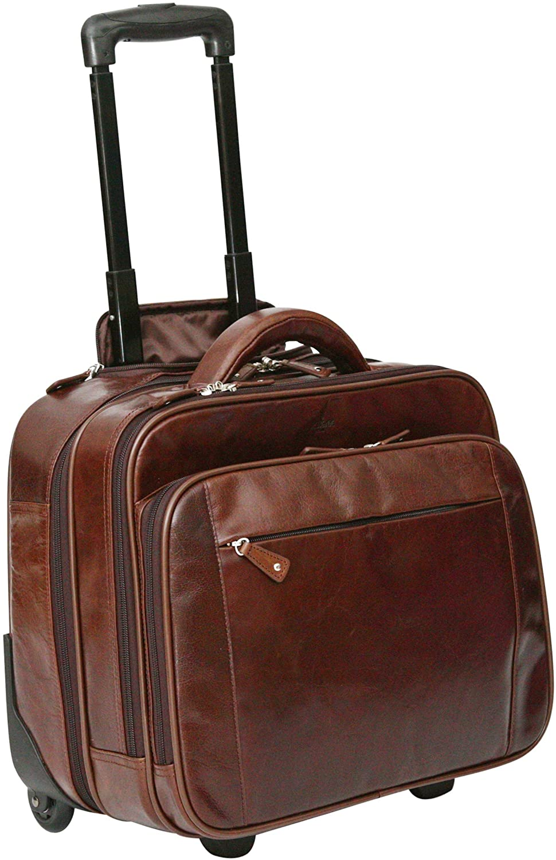 S Babila Genuine Leather Laptop Cabin Size Trolley Briefcase Overnight Flight Travel Bag (Dark Brown)