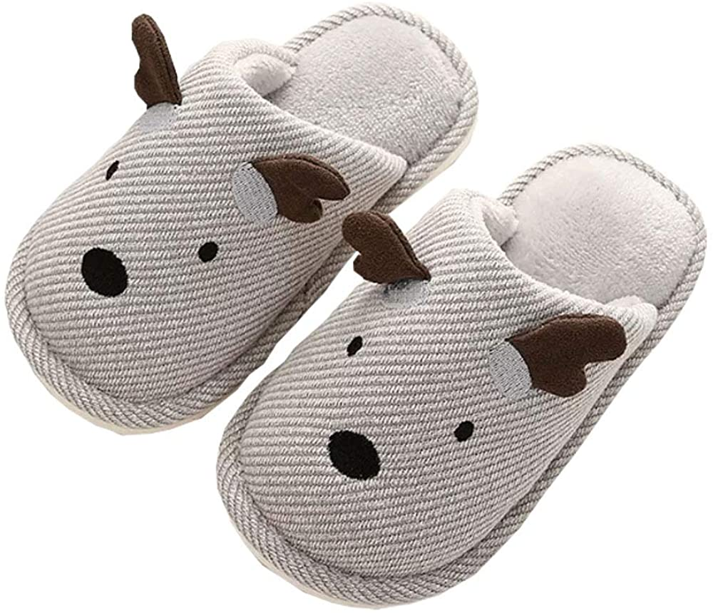 Saukiee Little Kids Slippers for Girls Boys Toddler Fuzzy Animals Deer Winter Warm Home Indoor Shoes with Rubber Soles