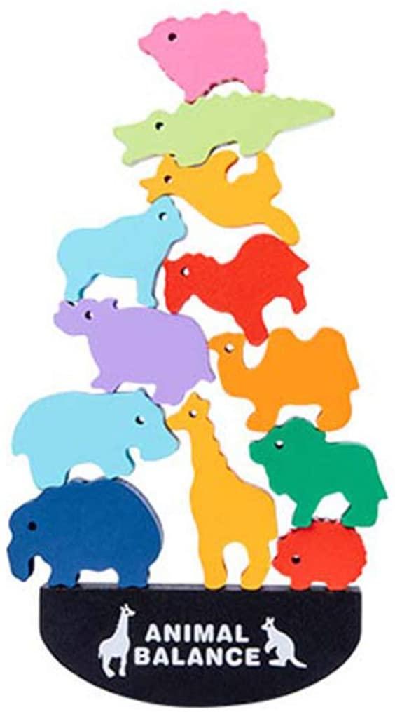 7haofang Wooden Stacking Animal Interlock Toys Balancing Blocks Toddler Educational Toys