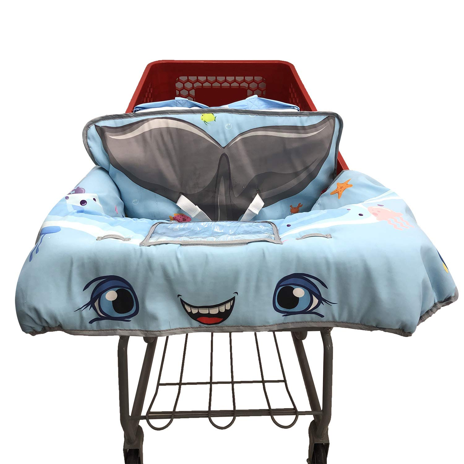 Cute 2-in-1 Grocery Cart Cover and Highchair Seat Cover for Baby (Whale)