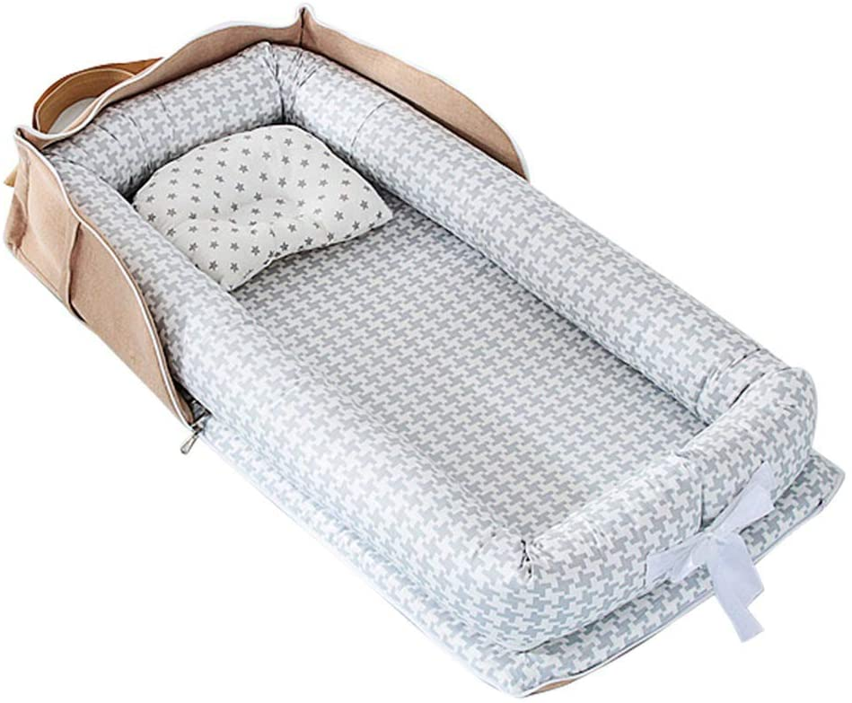 VASTAIR Baby Lounger Foldable Newborn Sleeper Breathable Co-Sleeping Bassinet Portable Travel Infant Bed Crib Baby Nests with Removable Cushion(Houndstooth)