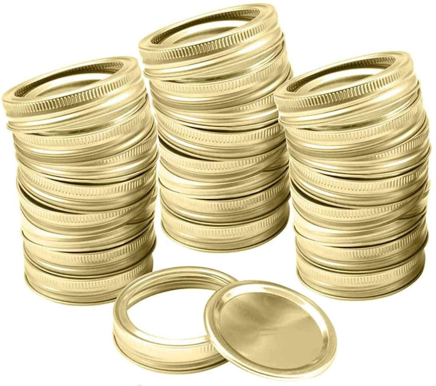 Mason Jar Lids Rings Regular Wide Mouth Canning Lids and Bands (86 mm Wide Mouth, 24 PCS Lids+ 24 PCS Bands)