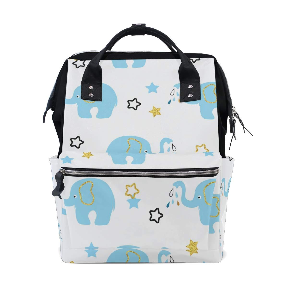 MERRYSUGAR Diaper Bag Mommy Bag School Backpack Baby Bag Baby Elephant Star White Large Multifunction Travel Bag Mommy Bag
