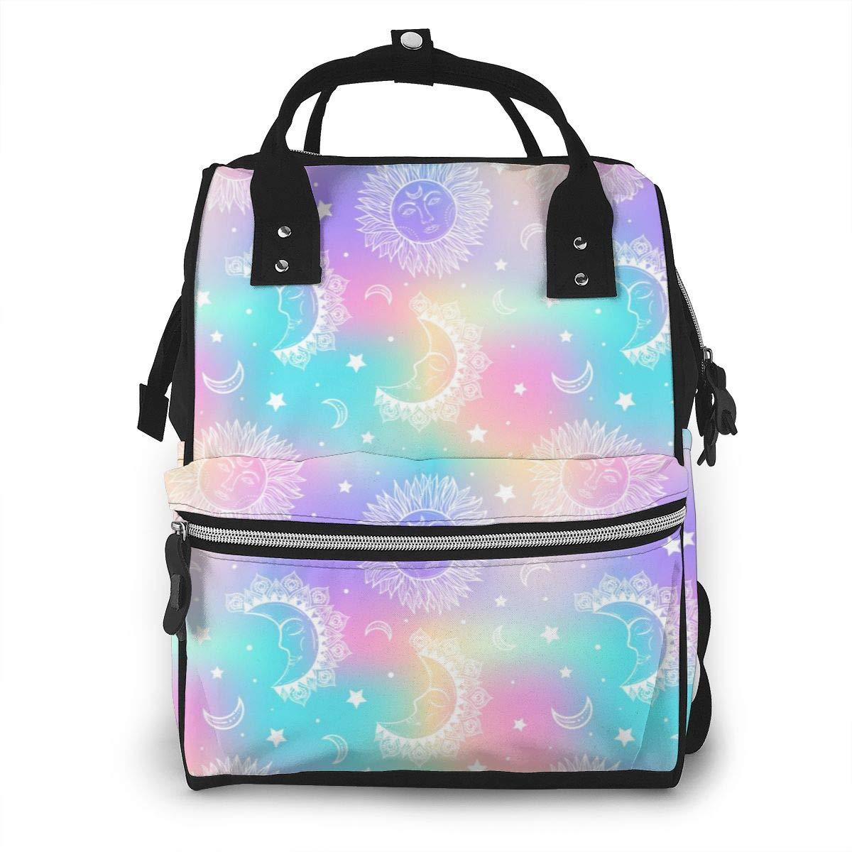 Galaxy Sun and Moon Stars Large Capacity Diaper Nappy Travel Nursing Bag Mummy Mom Backpack Laptop Multi-Function for Baby Care Women Family