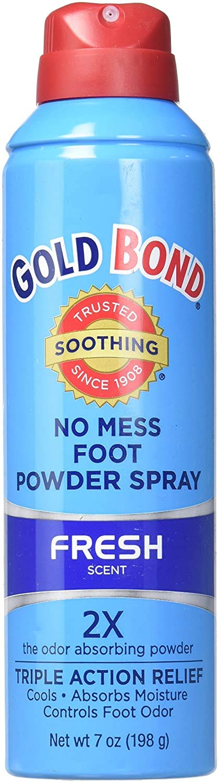 Gold Bond No Mess Foot Powder Spray, Fresh Scent 7 oz (198 g)(Pack of 2)