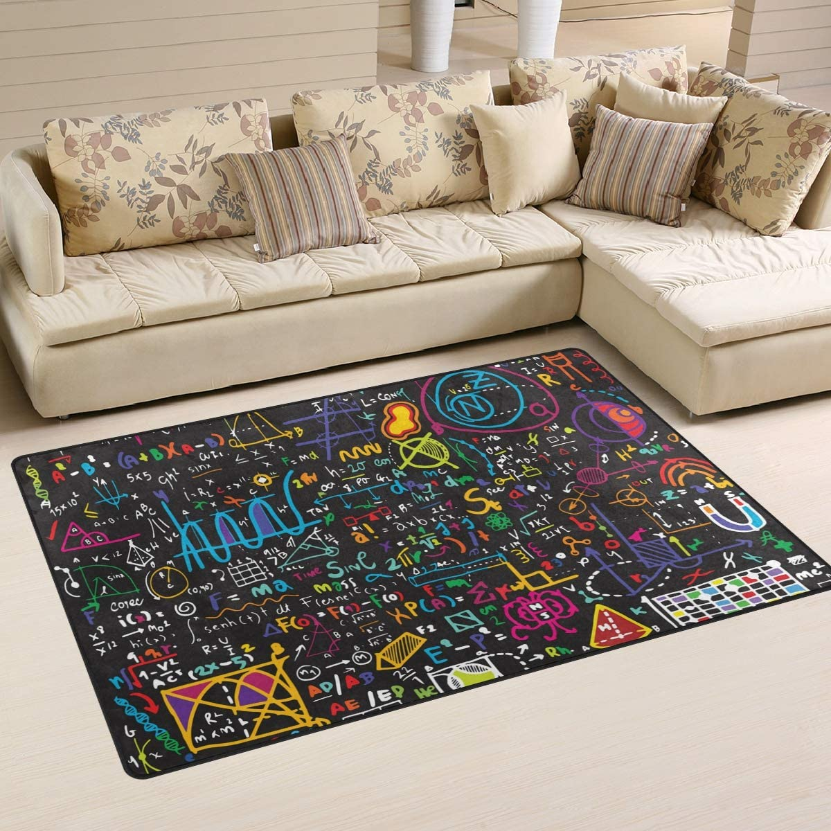 ALAZA Children Area Rug,Colorful Math Formula Floor Rug Non-Slip Doormat for Living Dining Dorm Room Bedroom Decor 60x39 Inch
