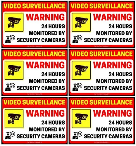 (6 Pack) 24 Hour Video Surveillance Sign - Decal Self Adhesive