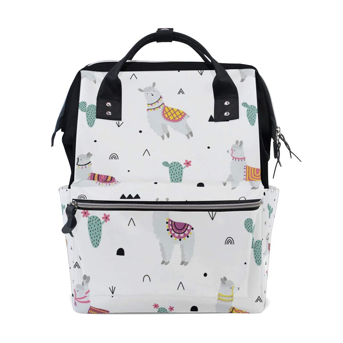MERRYSUGAR Diaper Bag Backpack Llama Cactus Multifunction Travel Bag
