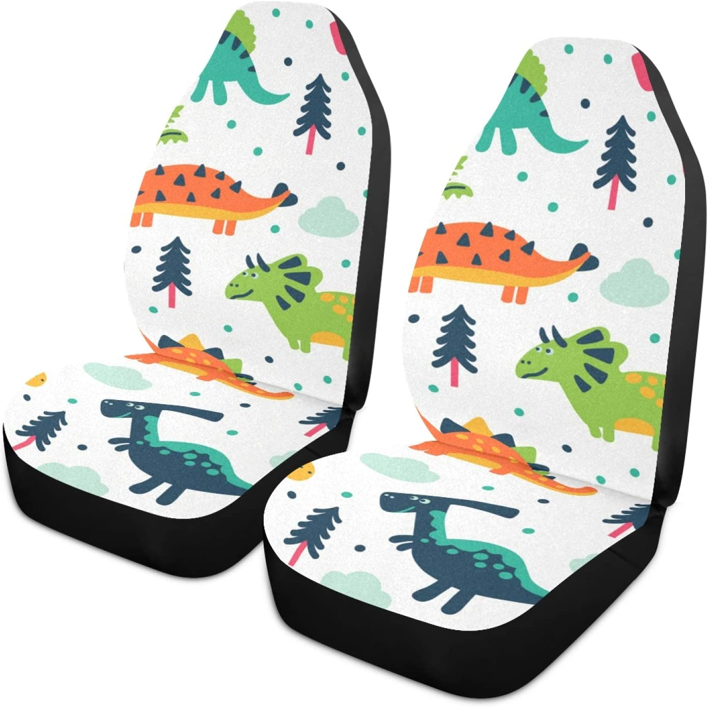 Moudou Dinosaur Car Seat Cover Breathable Front Car Seat Cover Vehicle Seat Protector Fit Most Cars, SUV, Truck and Van, 1pc