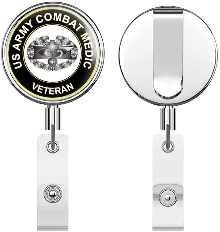 U.S. Army Combat Medic Veteran Round ID Badge Key Card Tag Holder Badge Retractable Reel Badge Holder with Belt Clip