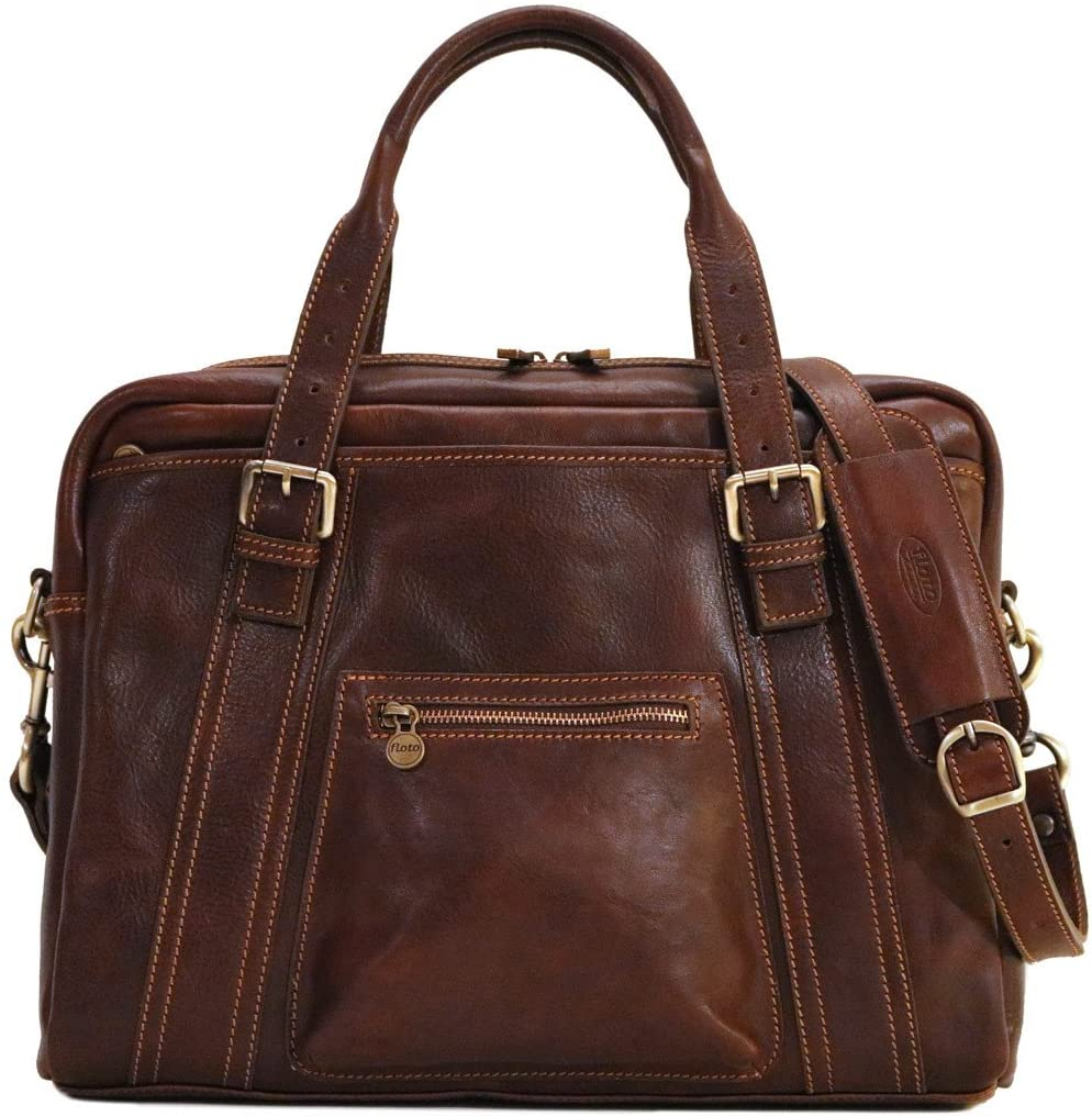 Procida Slim Full Grain Leather Briefcase Messenger Laptop Computer Bag