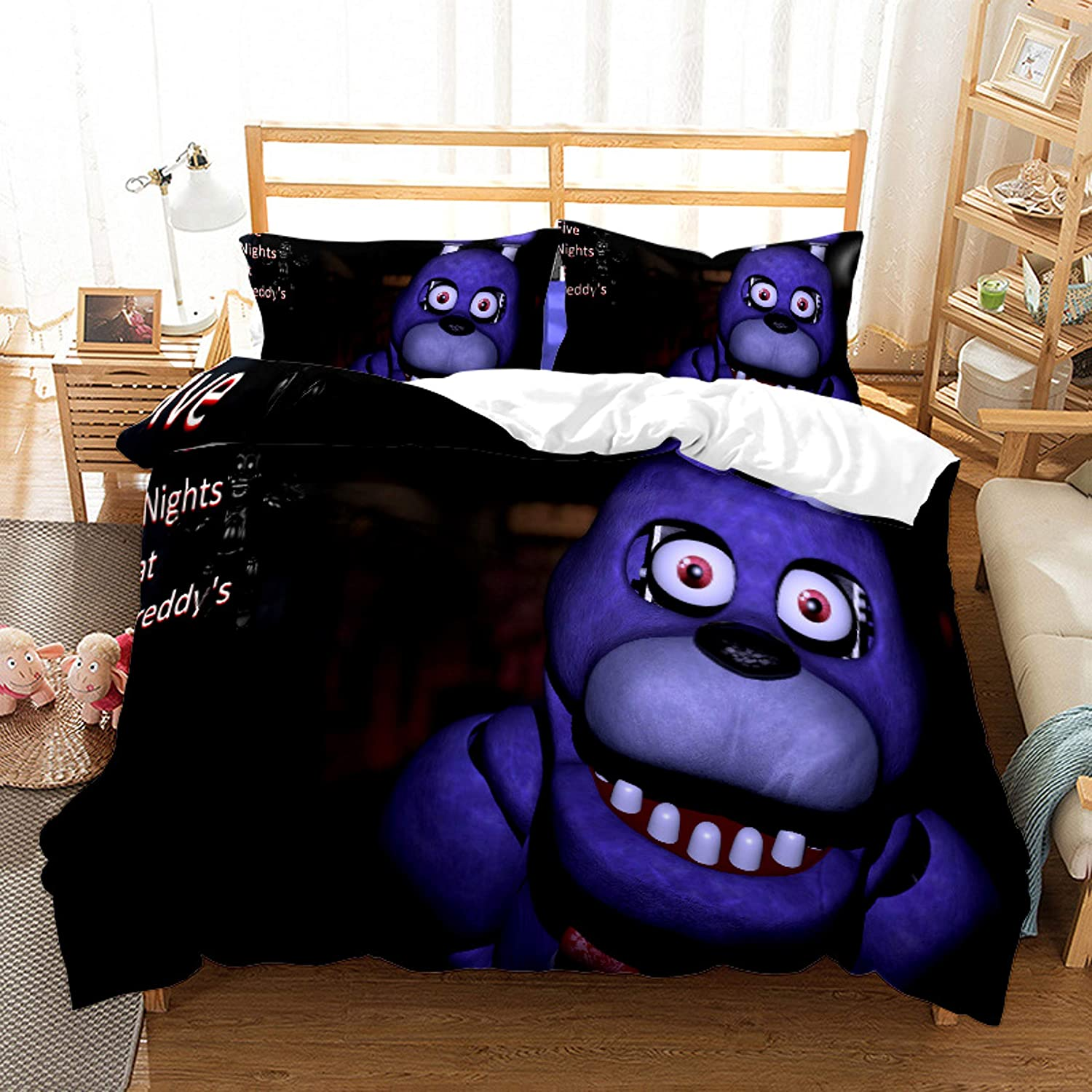 Ntioyg Five Nights at Freddy's Duvet Cover Sets for Kids Teens Adult Bed Set Bedding Without Comforter Sheet Queen