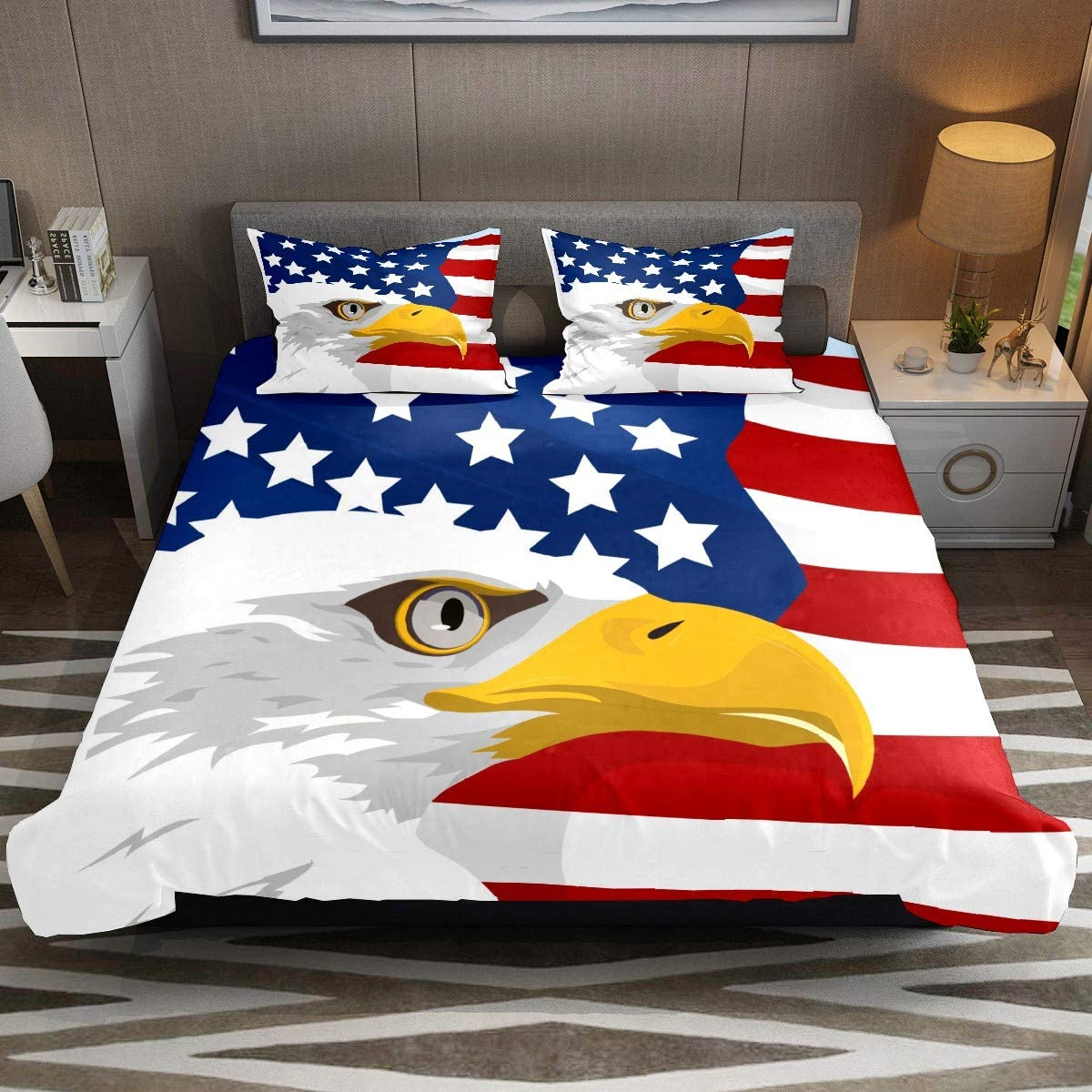 American Eagle USA Flag Comforter Cover Set XL Size 3pcs Duvet Cover Bedding Sets & Collections with Zipper Ties for Woman Teens Kids Modern Customize (1 Quilt Cover +2 Pillowcases)