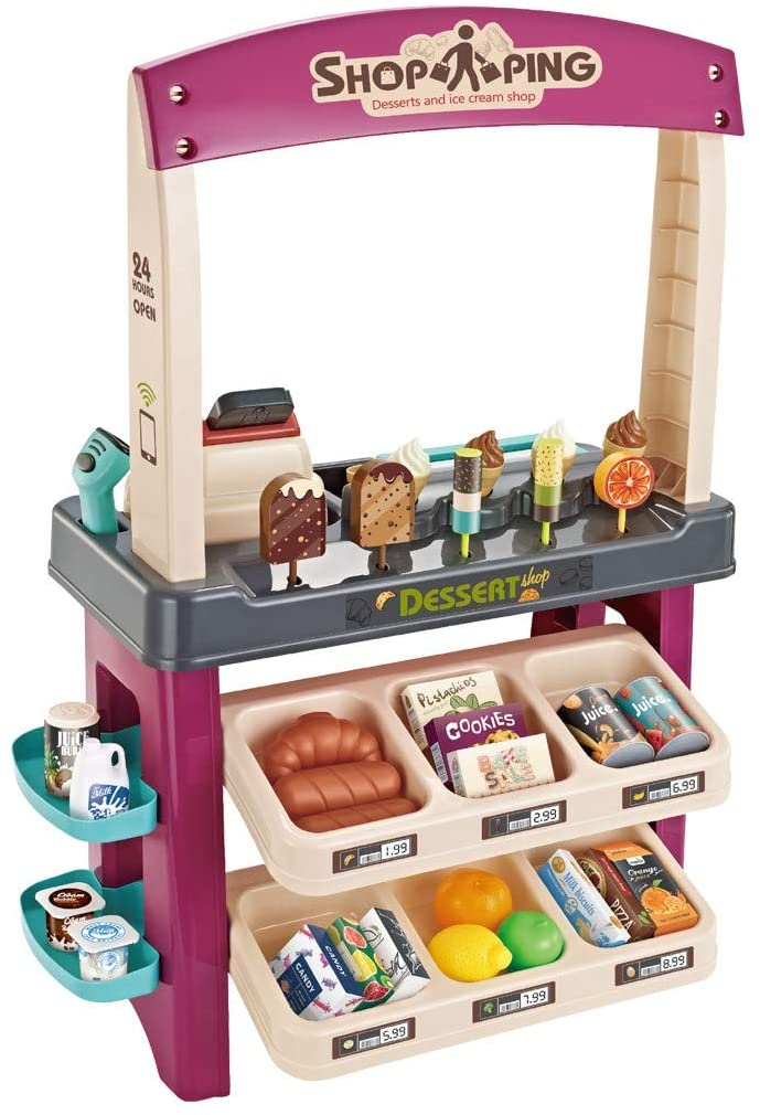 Children Role Play Shopping Toys Playset - Kids Ice Cream Shop Toy Set - 55 Pieces Luxury Grocery Store - Birthday/Halloween/Thanksgiving/Christmas Gift (Multicolor)