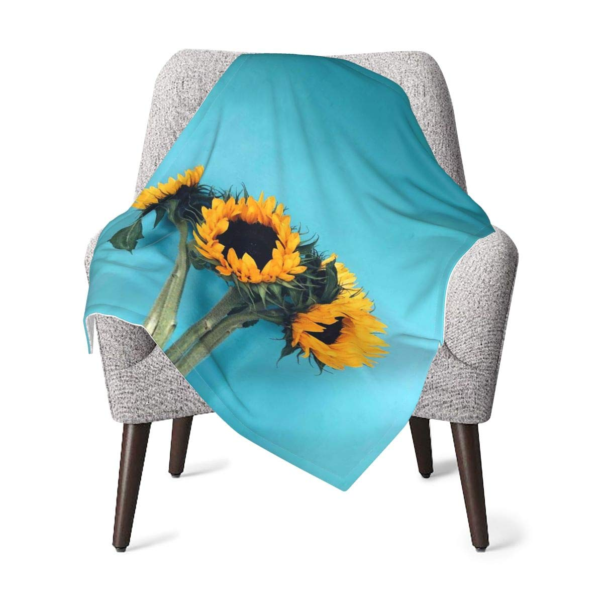 ASYOURWISH Baby Blanket Super Soft Plush, Sunflower Yellow Flower Printed Unisex Design Received Blanket, Nursery, Stroller Infant & Toddler Bedding 30x40 Inch