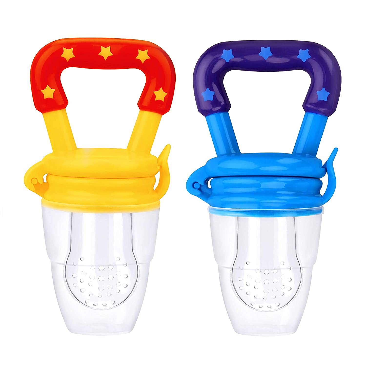 Baby Pacifier Food and Fruit Feeder, Silicone Teether, Medium Size for Baby Boy 6-9 Months Old, Yellow & Blue - 2 Pack