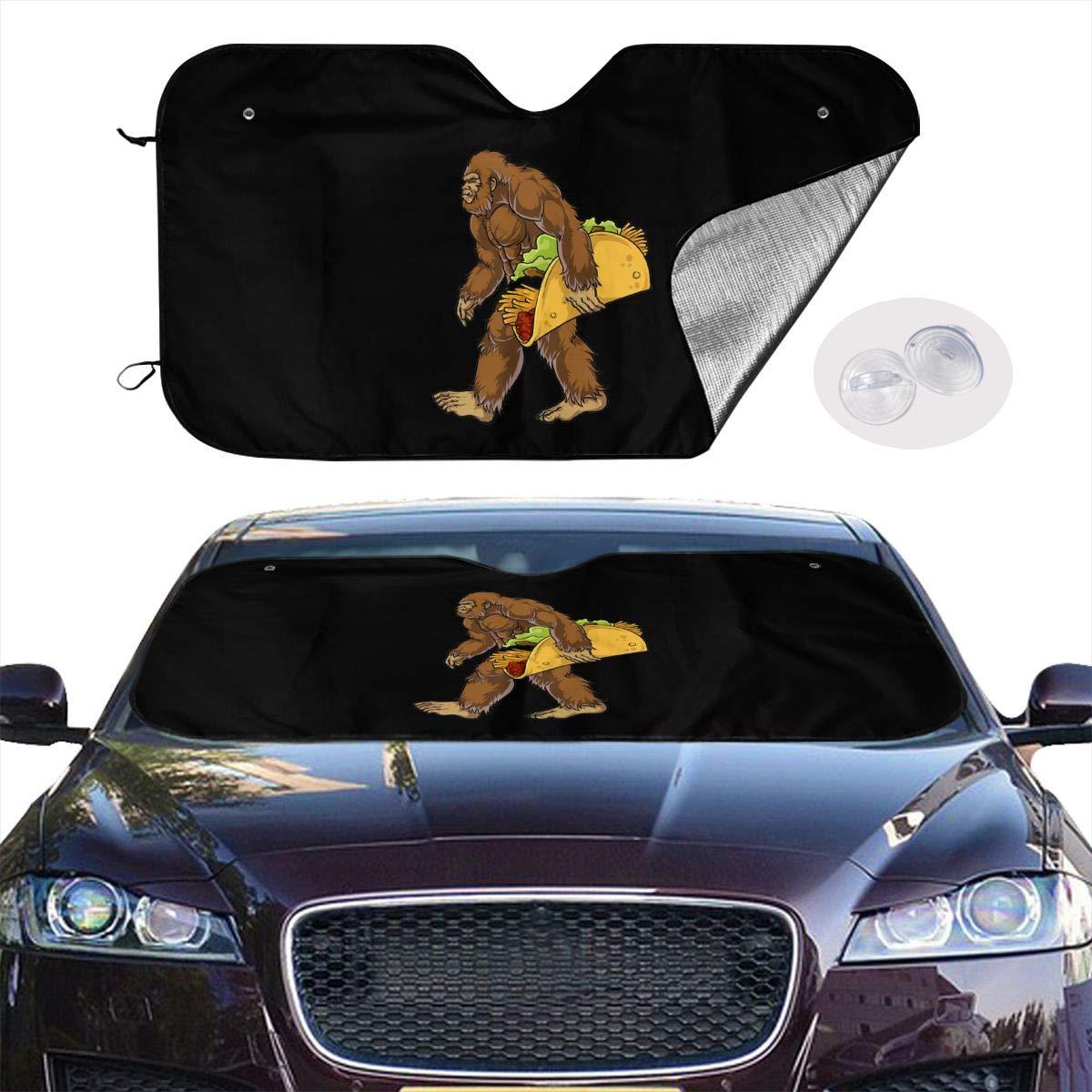 Bigfoot Carrying Taco Windshield Sun Shade Blocks Uv Rays Sunshade Shield Sun Visor Protector Keeps Vehicle Cool for Sedan Truck Minivan