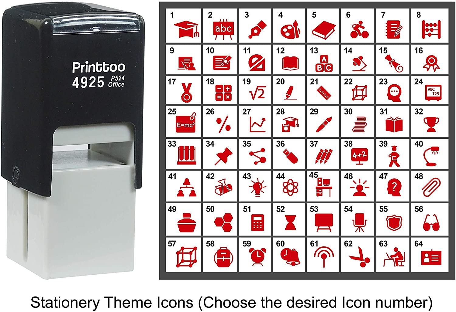 Printtoo Personalized Stationery Theme Icons Rubber Stamp Self Inking Stamper 24 mm-Red