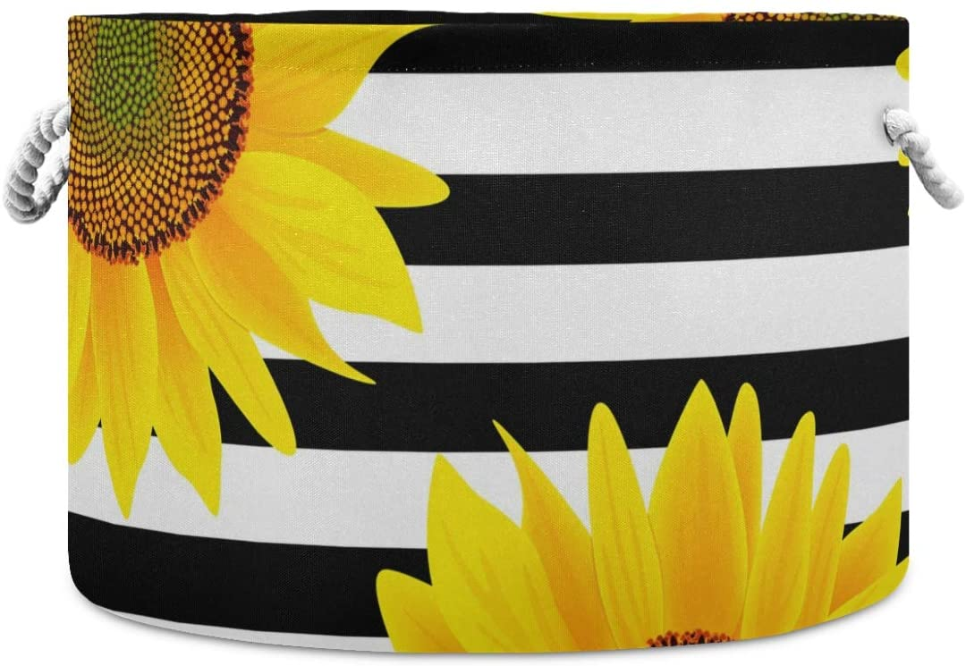 ALAZA Round Storage Basket Bin Vintage Sunflower Stripes Collapsible Waterproof Laundry Hamper Baby Nursery Basket Organizer with Handles for Bedroom Closet Toys Gifts
