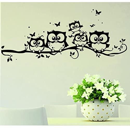 Jeash Art Cartoon Owl Wall Sticker for Children's Room Bedroom Living Room Background Kindergarten Nursery Personality Wall Stickers Decal Home Decorations