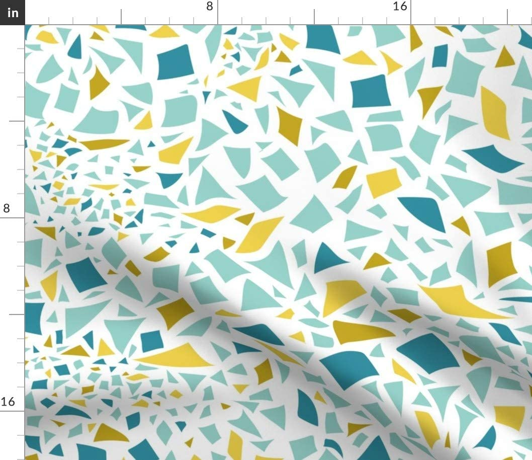 Spoonflower Fabric - Water Mosaic Ocean Lake Abstract Printed on Cotton Poplin Fabric by The Yard - Sewing Shirting Quilting Dresses Apparel Crafts