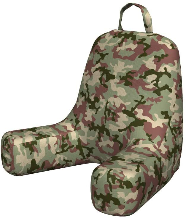 Ambesonne Camo Foam Reading Pillow, Illustrated Green Camouflage in Forest Colors Hunter Theme, Shredded Visco Bedrest with Washable Cover and Pocket, Small, Dark Green