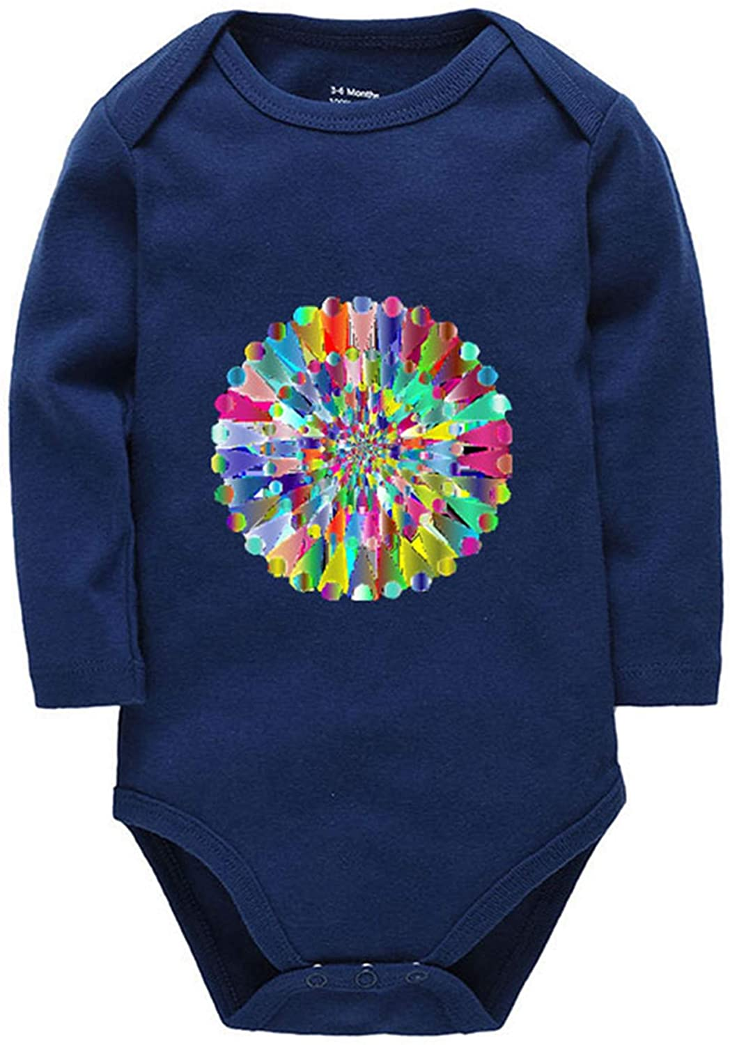 Migsrater Colorful Oil Painting Newborn Onesies Long Sleeve Unisex Baby Cotton Bodysuit Navy