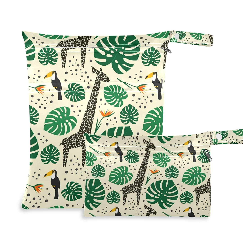 Qilmy 2pcs Giraffe Bird Flower Wet Dry Bag Waterproof Reusable Baby Cloth Diaper Wet Dry Organizer for Travel, Beach, Stroller, Diapers, Wet Swimsuits, Toiletries,