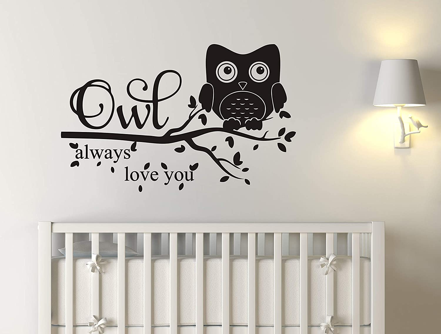 Owl Wall Decals, Owl Always Love You Wall Decal, Owl Nursery Decal, Nursery Decor, Vinyl Wall Decal for Kids Boys Girls, Quote Wall Decals A38 (Small)
