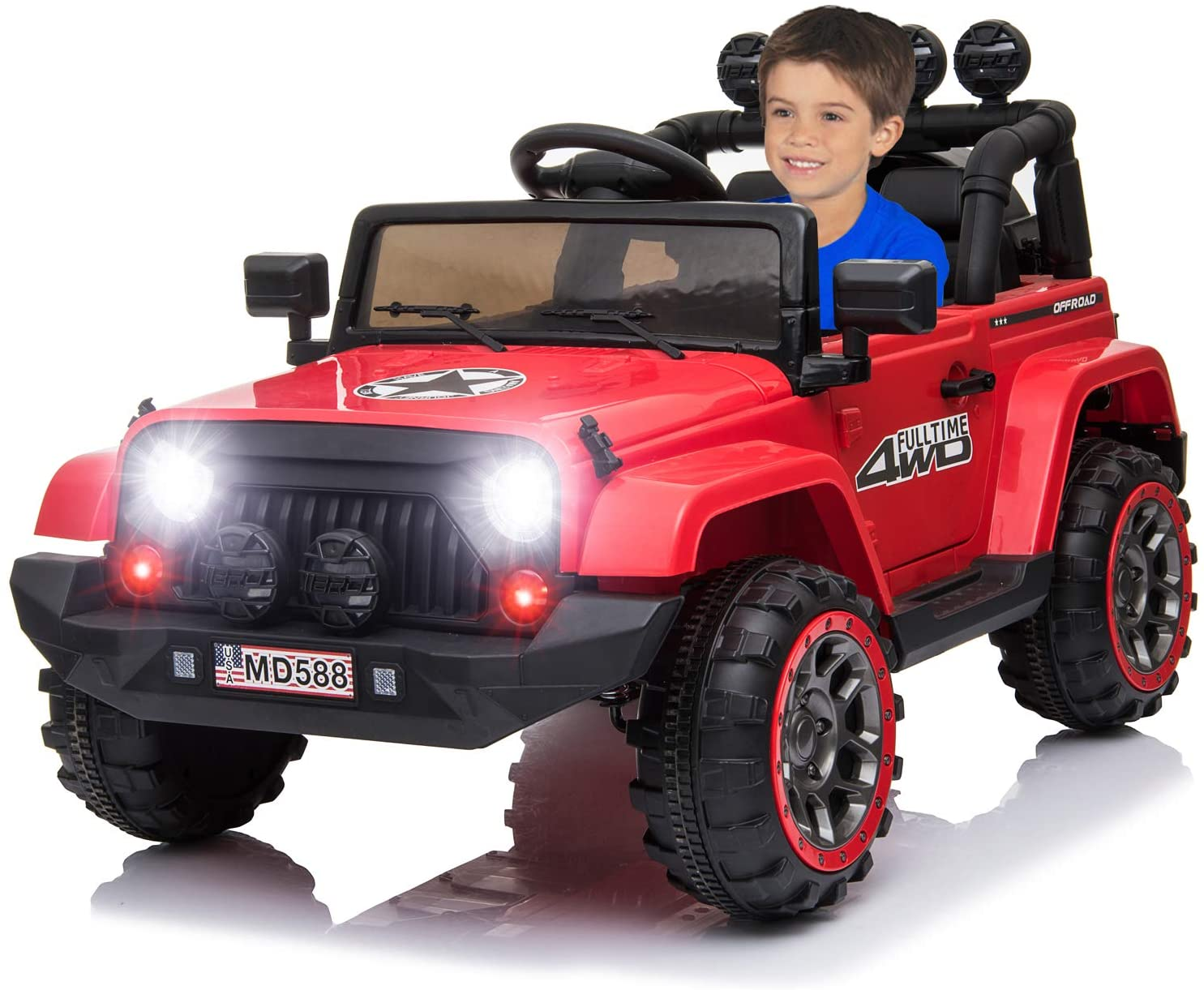 IKON MOTORSPORTS 12V Electric Ride On Car w/ Remote Control for Kids, Spring Suspension, LED Light, Openable Doors, Music Player - Red